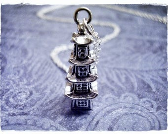 Silver Pagoda Necklace - Sterling Silver Pagoda Charm on a Delicate Sterling Silver Cable Chain or Charm Only