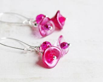Hot Pink Earrings, Flower Cluster Earrings on Silver Plated Hooks, Pink Dangle Earrings, Magenta Earrings, Czech Glass, Summer Jewelry