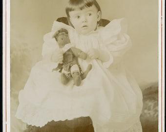 Little Girl with Her Favorite STUFFED TEDDY BEAR Cabinet Card Photo circa 1890s Pelican Rapids Minnesota