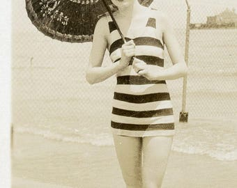 Pretty Young Woman in Roaring 20s Art Deco Bathing Suit with Parasol Photo circa 1920s