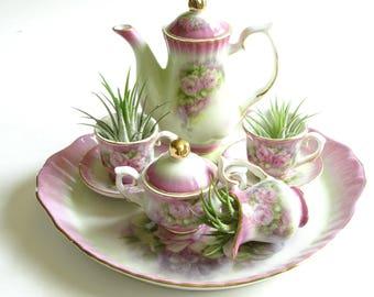 Miniature Pink Floral Tea Set, Small Tea Set, Air Plant Decor, Little Tea Set, Vintage Home Decor, Tea Set Collectors, Victoria's Garden