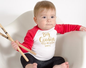 Big Cousin Shirt - Baby Announcement Shirt - Personalized Glitter Sibling Shirt- Pregnancy Announcement- Boho Big Sister - Family Pictures