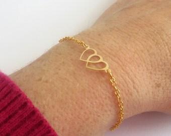 Gold Bracelet Women Bracelet, Tiny Gold Bracelet, Thin Gold Bracelet, Dainty Bracelet Gold, Dainty Gold Bracelet, Gold Heart Bracelet