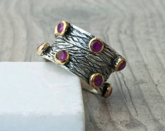 Unique Ruby Ring, Handmade Wide Band Statement Ruby Ring, Ruby Jewelry, Boho Chunky Ring, July Birthstone Ring, Contemporary Ring for Her