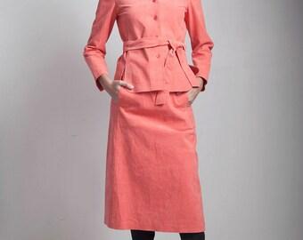 vintage 1960s ultrasuede jacket skirt set salmon orange soft XS Extra Small