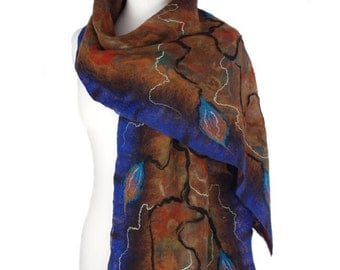 Nunofelted scarf, brown and blue, unique handmade