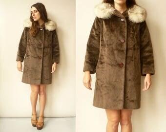 1950's Vintage Faux Fur Princess Swing Coat With Fox Fur Collar Size S/M