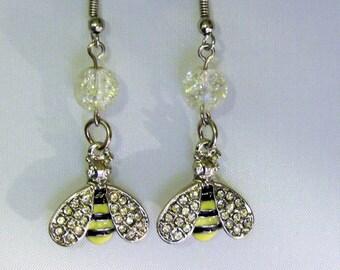 Rhinestone Winged Bee Earrings