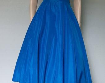 1950s Brilliant Turquoise Blue Taffeta Halter Dress with Rhinestone Studded Collar / Full Skirt Party Dress / Small