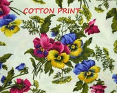 1/2 YARD, QUILT COTTON, Purple Green Pink Yellow Floral Print, Fabric Freedom, Pansy Bright F558, B11