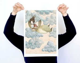 I Don't Mind if We Fly or Fall - LARGE - A3 Print - sloth beast girl love friends friendship sky clouds flying falling whimsy happy paper