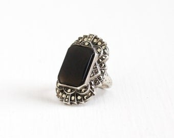 Sale - Vintage Art Deco Sterling Silver Marcasite & Dark Chalcedony Ring - 1930s Size 5 1/4 Statement Gemstone Uncas Jewelry