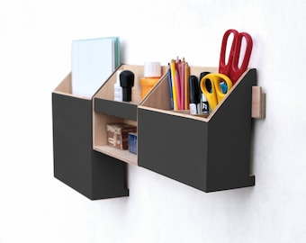 Wall organizer Black, Mail Organizer, Wall hanging Pen holder, Wall holder, Home office Black office set, Wood desk organizer, Black decor