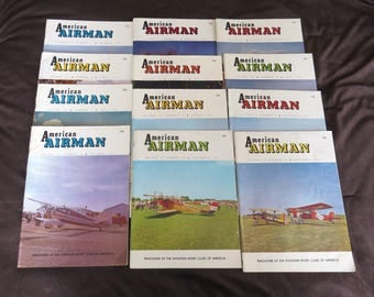 AMERICAN AIRMAN , 12 Issues Complete Year 1961, Magazine of the Aviation Sport Clubs of America, Vintage Airplanes, Flying 1960s Aeronautics