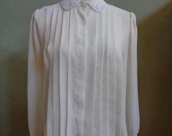 """Vintage 80's Claudia Barnes Long Sleeved Semi-Sheer Cream Blouse with Cutwork Detailing on Collar and Sleeve Cuffs Bust 42"""" Waist 42"""""""