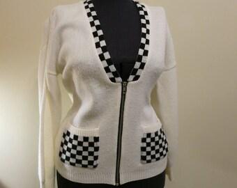 Sweater cardigan CHECKER mod ska 1960s black white pockets M