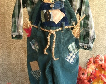 boys 18 mos Scarecrow costume  photo prop plaid shirt ,overalls, hat OOAK