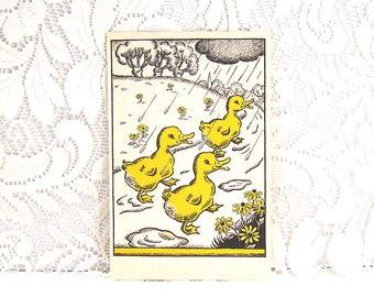 Three Yellow Ducks - Children's Book Illustration - copyright 1938 - from The Organ Grinder's Garden
