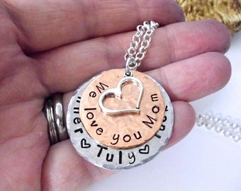 Mom Jewelry, Mom Necklace, Grandma Necklace, Personalized Jewelry, Gift for Mom, Jewelry for Mom, Grandma Jewelry, We Love You Mom
