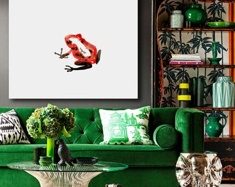 Art Print - Red Poison Dart Frog - Minimalist Sumi-e - Ink Painting