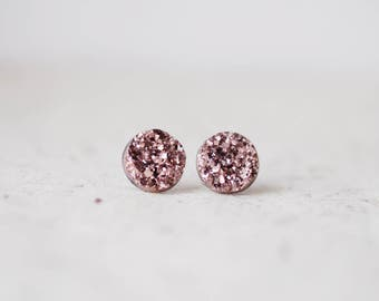 Copper Tone Rose Gold Druzy Studs - Metallic Shimmer - Faux Raw Crystal Post Earrings - Sparkling Jewelry BUY 2 GET 1 FREE