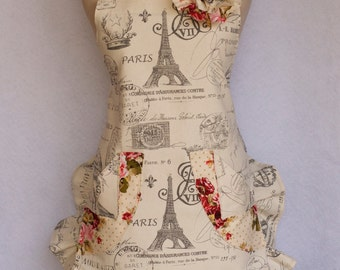 Frech Print, Womens Apron,Paris, Eiffel Tower, Cabbage Rose