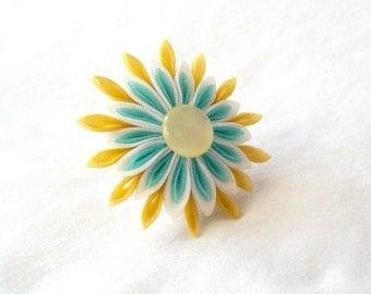 Yellow and Aqua Statement Cocktail Ring Tsumami Kanzashi Flower Adjustable