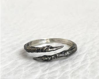 Oxidized Sterling Silver Adjustable Bird Claw Ring Nature Cast Sparrow Claw Handmade Taxidermy Jewelry
