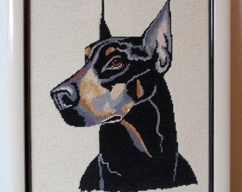 Needlepoint Doberman Dog Portrait/Needlepoint Dog Portrait Doberman/Wall art/Needlepoint Wall Art/Needlepoint Portrait