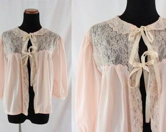 SALE Vintage Fifties Lingerie - 1950's Pale Pink Bed Jacket - 50's Pink Lingerie - Large Pin Up Lingerie