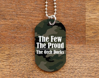 Camouflage Orch Dork Dog Tag Necklace for Musicians
