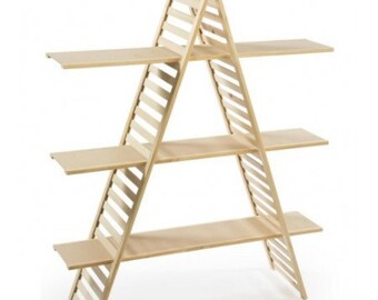 Portable Wood A-Frame Shelf Unit