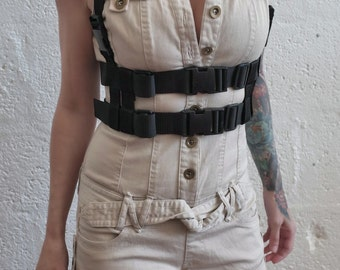 2 Story Chest Harness - Black - polypropylene/webbing - apocalypse - bushcraft - mad max - cosplay - please read description for sizes