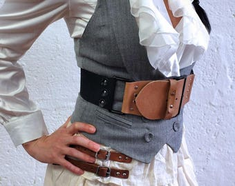 Real Leather Chest Belt - Natural/Black - steampunk - burning man - festivals - apocalypse, Please read Description for size