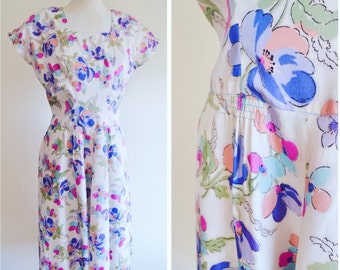 1940s Ivory purple pink turquoise floral printed summer dress / 40s Flower print drop waist light rayon dress - S