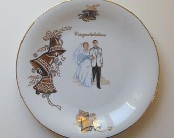 Mid-Century Modern Wedding Commemorative Plate. Stamped Made in Germany. Bavaria Tirschenreuth Germany. Wedding Gift. Wedding plate.