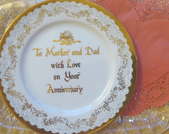 Vintage Hand Painted Anniversary Plate / Vintage Wedding Anniversary Gift / To Mother and Dad on Your Anniversary / Gold Gilt Anniversary