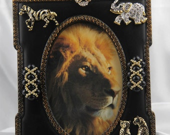 Beautiful African Animal Jewelry Picture Frame, Rhinestone,Crystals,All Occasion Gift
