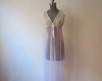 Vintage '60s Lavender and Lace Sheer Babydoll Nightgown, Negligee, Small