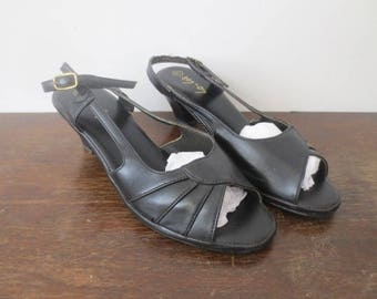 Vintage '60s Lo-Lo's Faux Leather Open Toe, Sling Back Kitten Heels, US Women's Sz 7.5