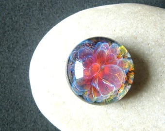 Hibiscus Floral Cabochon - Lampwork Glass - Jewelry Making Supply - 16mm