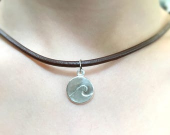 Ocean Wave Necklace, .999 Fine Silver Charm, Small Wave Pendant, Surfer Girl Gift, Nautical Sea Jewelry, Beach Lover, Leather Necklace