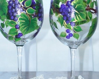 Purple Grape stemware Set of Two