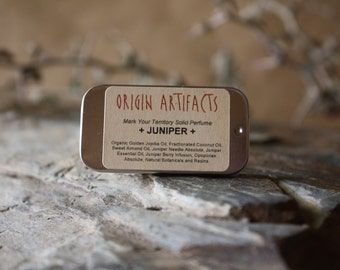JUNIPER Solid Perfume / Layer Over Other Solid Perfumes or MYT Perfume Mists / Woody Citrus + Dry Spicy + Green Floral + Resinous / .25 oz