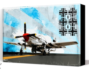 Airplane - P51 Mustang - Canvas Art Print, Airplane Decor, WWII vintage airplane, Air Force, Military Gift, Aviation, Pilot gift, WW2