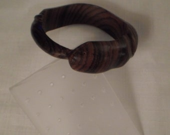 WOOD SNAKE BANGLE / Bracelet / Brown / Carved / Asymmetrical / Tribal / African / Striped / Striated / Modernist / Chic / Chunky / Accessory
