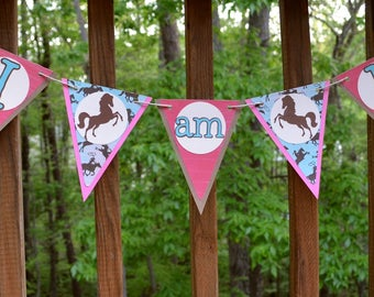 Pink & Teal Cowgirl I am 1 Photo Prop High Chair Banner Cowgirl 1st Birthday Party Banner Cowgirl Horse Birthday Decoration READY TO SHIP