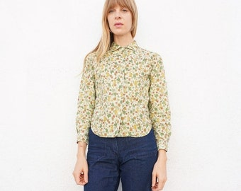 Shirt 60s Cotton Button Down Printed sz. XS