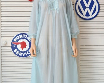 Sheer Womens Vintage Robe/Arctic Blue & Poofy Sleeves/Lace Trimmed Medium Flowing Full Length/Texsheen MW Nylon Theater Costume Lingerie 60s
