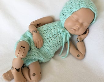 Newborn Romper - Baby Girl Outfit - Newborn Romper Prop - Newborn Girl Romper - Crochet Romper - Baby Girl Prop - Mint Green - READY TO SHIP